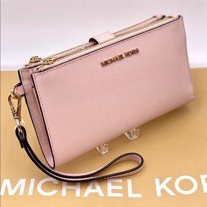 Michael Kors Double Zip Wallet Wristlet Pink